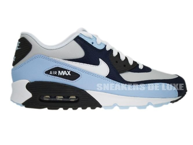 Mens Nike Air Max 90 Essential Midnight Navy Blue Wolf Grey Athletic Sneakers Running Shoes 537384 409 537384 409