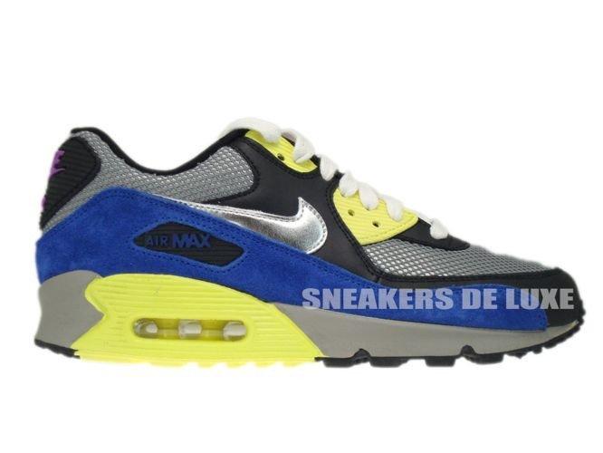 d786ea54f636 English  325213-025 Nike Air Max 90 Medium Grey Silver-Black-Volt ...