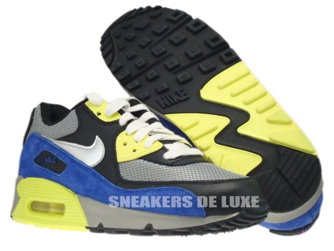 premium selection ad3cc 981a8 ... 325213-025 Nike Air Max 90 Medium Grey Silver-Black-Volt ...