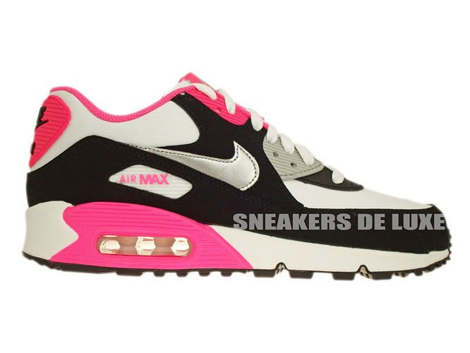 on sale 83e65 1e7c3 345017-122 Nike Air Max 90 White/Metallic Silver-Black-Hyper Pink ...