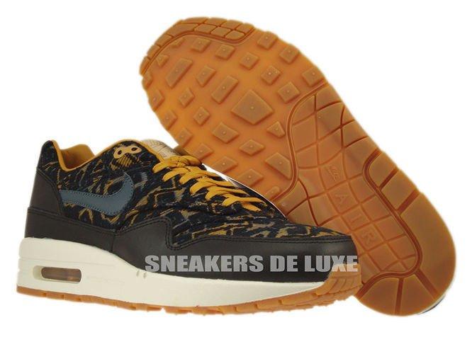 sale retailer 32d54 6613d ... 454746-003 Nike Air Max 1 Premium BlackDark Armory Blue-Gold Suede ...