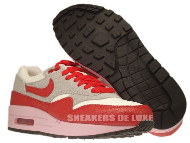 fc4fe860ab ... 555284-103 Nike Air Max 1 Vintage Sail/Hyper Red-Street Grey- ...