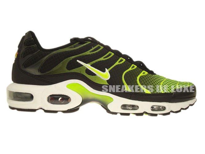 brand new 1d387 251ee 647315-071 Nike Air Max Plus TN 1 Black-White/Volt Green