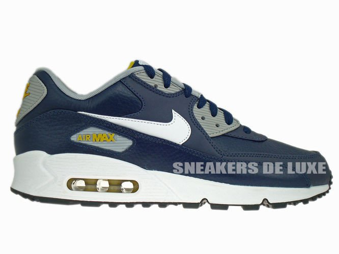 652980 400 Nike Air Max 90 Leather ObsidianWhite Wolf Grey