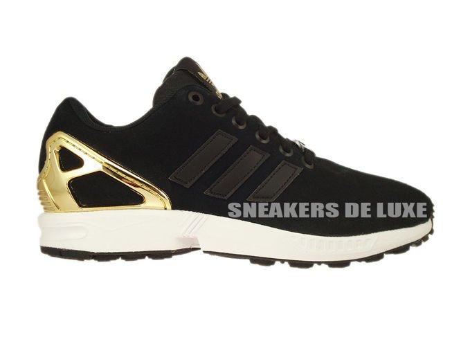brand new e7315 a58f3 B35319 adidas ZX Flux Core Black / Core Black / Gold Met.