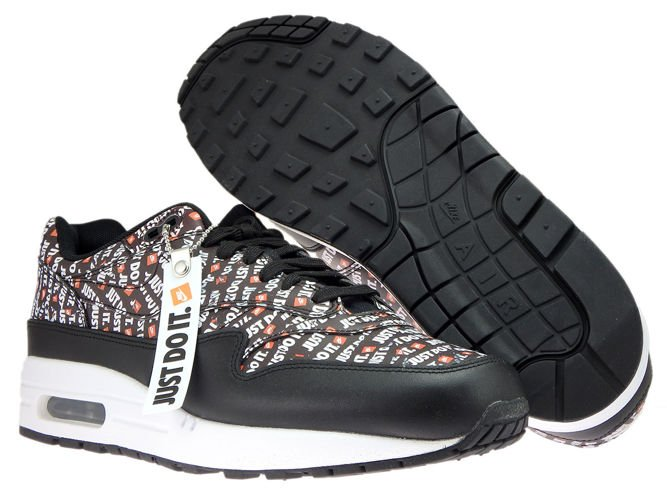 the latest 1f567 b9a84 ... Nike Air Max 1 Premium 875844-009 Black Total Orange White ...