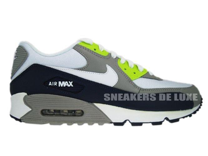 62a585e0581c69 English  Nike Air Max 90 Obsidian White-Medium Grey-Volt 325018-406 ...