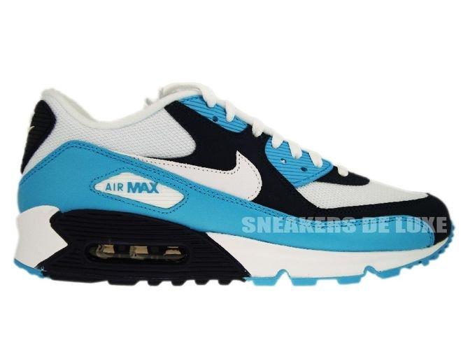 English  Nike Air Max 90 White White-Chlorine Blue-Obsidian 309299 ... ff137e7a5a62