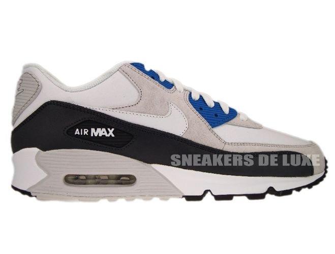 fae7bb763bcf8 English  Nike Air Max 90 White White-Obsidian-Neutral Grey 325018 ...