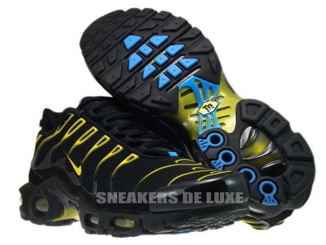 English  Nike Air Max Plus TN 1 Black Tour Yellow-Dynamic Blue ... c6cf9d765