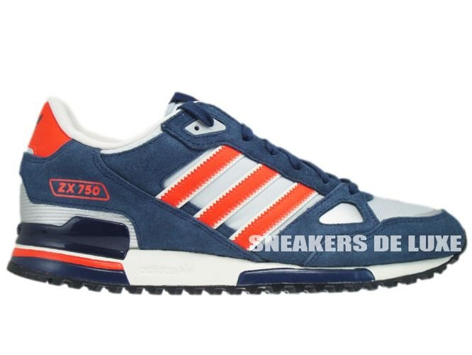 low priced cd789 aa674 Q35491 Adidas ZX 750 Originals Light Grey Infrared New Navy ...