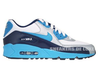 307793-155 Nike Air Max 90 White/Vivid Blue-Obsidian-Metallic Silver