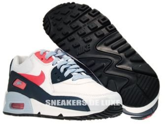 345017-117 Nike Air Max 90 White/Atomic Red-Armory Navy-Light Armory